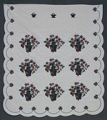 Custom Amish Quilts - Bird Flower Bouquet Applique Navy Burgundy
