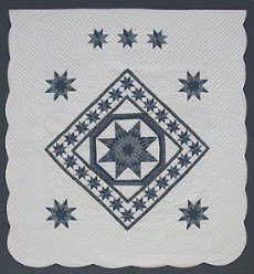 Custom Amish Quilts - Star in Stars Patchwork Blue