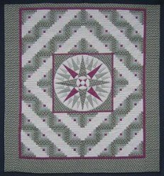 Custom Amish Quilts - Log Cabin Mariners Compass Sage Green Patchwork