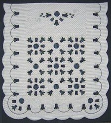 Custom Amish Quilts - Windy Tulip Applique Border Navy Blue
