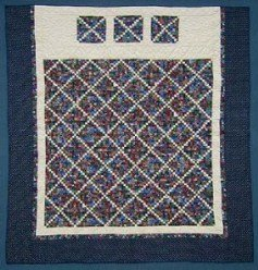 Custom Amish Quilts - Postage Stamp Patchwork Katie Mary Grace Certified Navy Tan