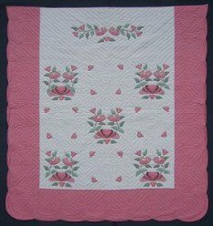 Custom Amish Quilts - Country Bride Pink Applique