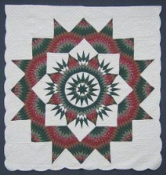 Custom Amish Quilts - Christmas Mariners Compass Star Patchwork Red Green