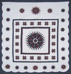 Custom Amish Quilts - Framed Compass Star Galaxy Burgundy