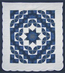 Custom Amish Quilts - Lone Star in Log Cabin Fan Patchwork