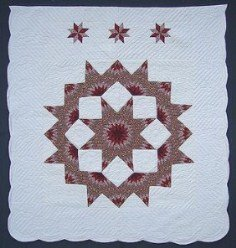 Custom Amish Quilts - Red Broken Lone Star in Star Patchwork