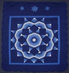 Custom Amish Quilts - Blue Broken Radiating Star
