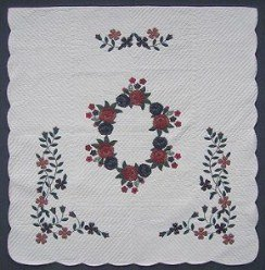 Custom Amish Quilts - Burgundy Rose Flower Applique