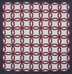 Custom Amish Quilts - Red Burgundy Double Wedding Ring Patchwork