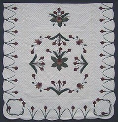 Custom Amish Quilts - Water Lily Border Applique Burgundy Green