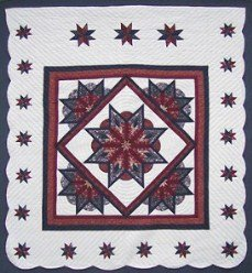 Custom Amish Quilts - Framed Fan Star in Star Merlot Navy Border