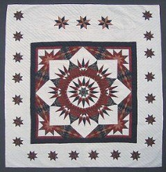 Custom Amish Quilts - Broken Compass Mariners Star in Stars Patchwork