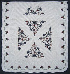 Custom Amish Quilts - Applique Bunch Flowers Navy Burgundy