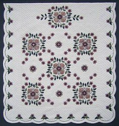 Custom Amish Quilts - Dusty Rose Bouquet Applique