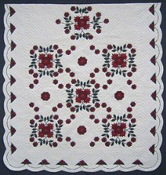 Custom Amish Quilts - Whig Wig Rose Applique Red