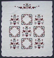 Custom Amish Quilts - Dutch Rose Bird Bride Quilt Applique