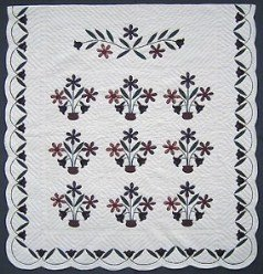 Custom Amish Quilts - Applique Flower Pots Burgundy Navy Green