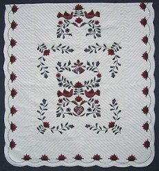 Custom Amish Quilts - Dove Bird Wedding Quilt Applique Burgundy