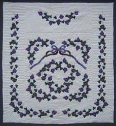 Custom Amish Quilts - Vineyard Grapes Purple Applique