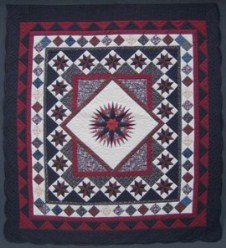 Custom Amish Quilts - Patchwork Framed Mariners Compass in Star