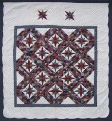 Custom Amish Quilts - Celestial Mariners Patchwork Framed Stars