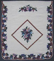 Custom Amish Quilts - Batik Rose Pansy Applique
