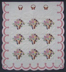 Custom Amish Quilts - Pink Flower Pots Applique