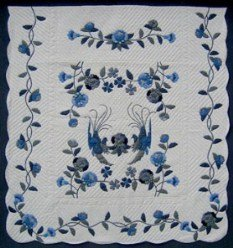 Custom Amish Quilts - Fancy Doves Blue Applique Flower Border