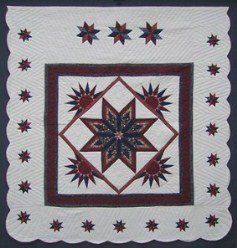 Custom Amish Quilts - Fan Star in Stars Border Burgundy