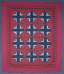 Custom Amish Quilts - Burgundy Navy Sawtooth Log Cabin Patchwork