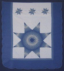 Custom Amish Quilts - Sky Blue Lone Star Patchwork