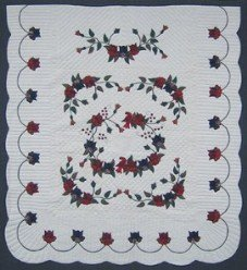 Custom Amish Quilts - Burgundy Navy Green Flower Applique