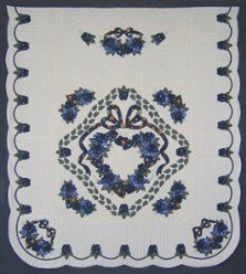 Custom Amish Quilts - Blue Green Gold Rose Wreath Applique Border
