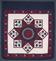 Custom Amish Quilts - Framed Improved Lone Star Patchwork Burgundy