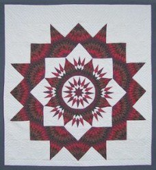 Custom Amish Quilts - Olive Brown Red Burgundy Mariners Compass Star