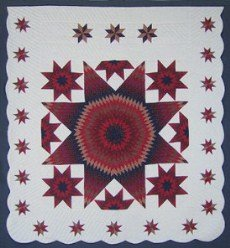 Custom Amish Quilts - Lone Star Red in Stars Border Patchwork