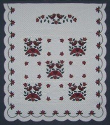 Custom Amish Quilts - Country Bride Burgundy Applique Green
