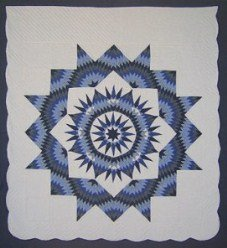 Custom Amish Quilts - Broken Blue Mariners Compass Star Burst
