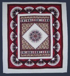 Custom Amish Quilts - Celestial Mariners Red Tan Framed Patchwork