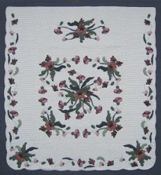Custom Amish Quilts - Garden Poppy Flower Applique