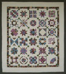 Custom Amish Quilts - Sampler Patchwork Green Rose