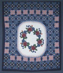 Custom Amish Quilts - Applique Navy Rose Dutch Patchwork