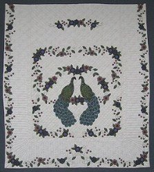 Custom Amish Quilts - Pair Regal Peacocks Flowers Border Applique