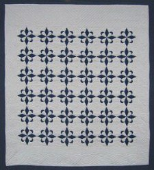 Custom Amish Quilts - Compass Star Blue White Patchwork