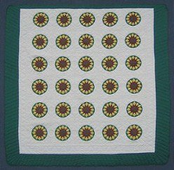 Custom Amish Quilts - Sunflower Green Yellow Patchwork