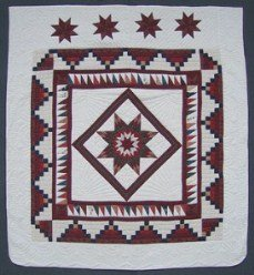 Custom Amish Quilts - Burgundy Patchwork Framed Lonestar