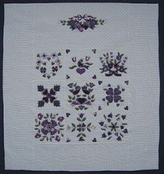 Custom Amish Quilts - Purple Lavendar Green Sampler Applique