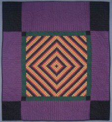 Custom Amish Quilts - PA Amish Dutch Trip Around World Purple Green