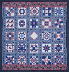 Custom Amish Quilts - Blue Navy Rose Sampler Patchwork