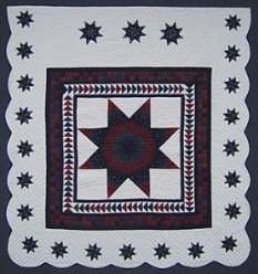 Custom Amish Quilts - Geese Flying Over Lone Star Patchwork Border